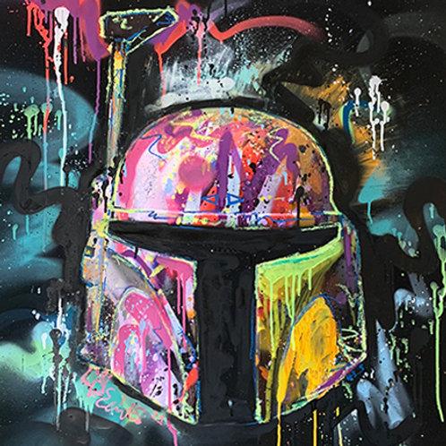 LP-EDITS EMBELLISHED 'BOBA FETT-005' ART PRINT 80cm x 80cm