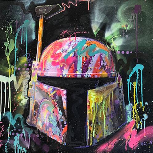 LP-EDITS EMBELLISHED 'BOBA FETT-001' ART PRINT 80cm x 80cm