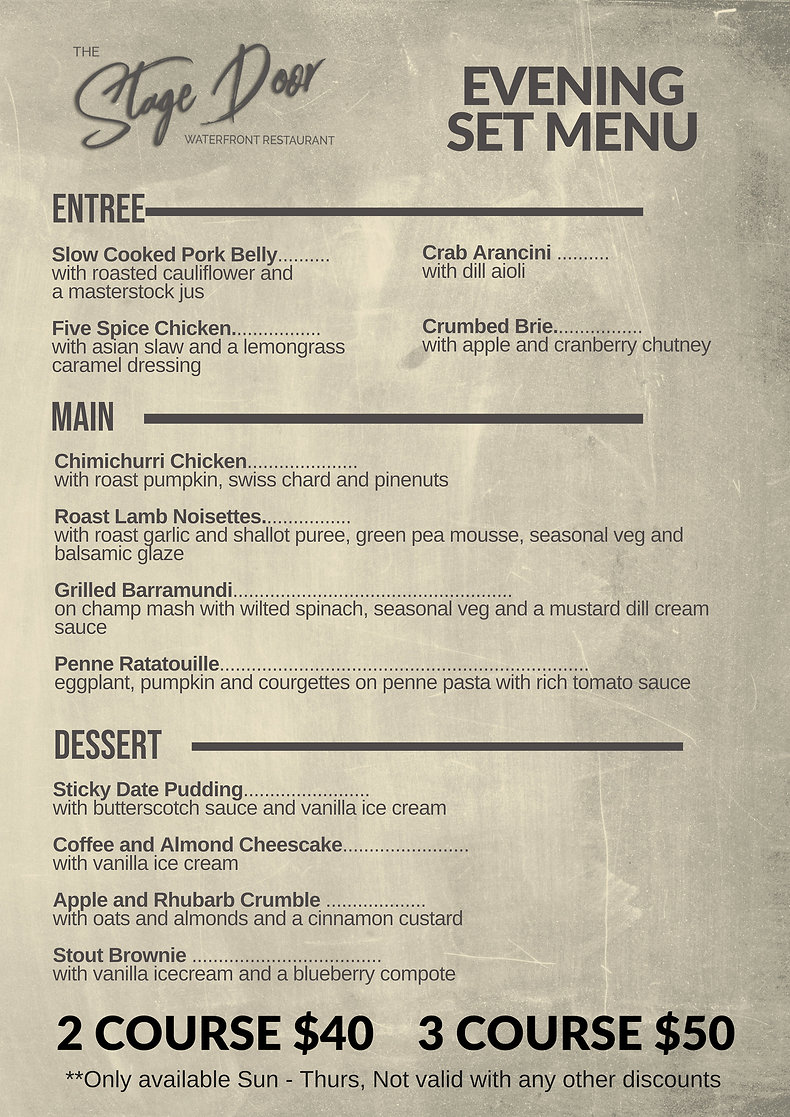 Evening Set Menu - TEMPLATE PLEASE MAKE