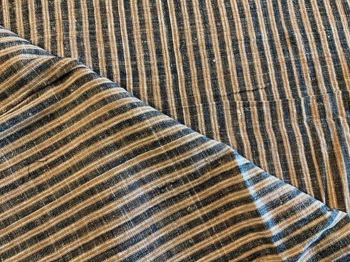 ガジ村の手紡ぎ手織り木綿(藍×茶綿 ストライプ)