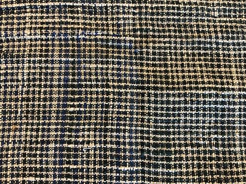 ガジ村の手紡ぎ手織り木綿(藍×生成)