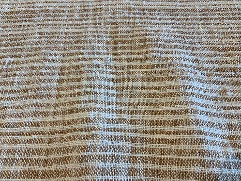 ガジ村の手紡ぎ手織り木綿(茶綿×生成 ストライプ)