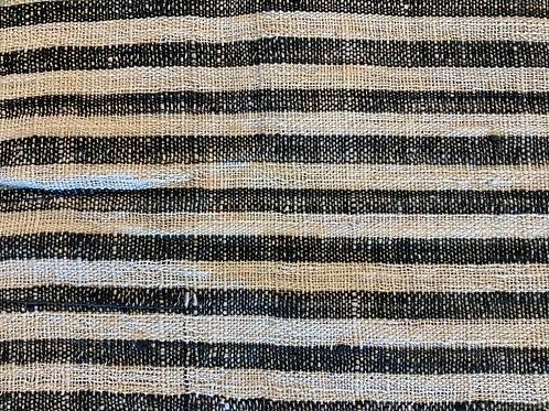 ガジ村の手紡ぎ手織り木綿(藍×生成 ストライプ)
