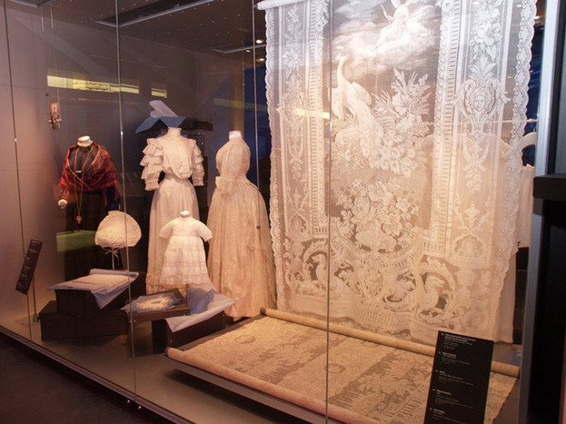 Exhibition featuring Courgannaise costume far left with jewellery owned by Saywells