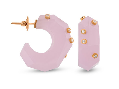 Pink quartz milestone earrings with 14k true gold and G/H cut quality diamond details from side and front view.
