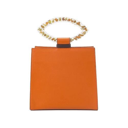 Orange Flower Leather Bag by Magnol