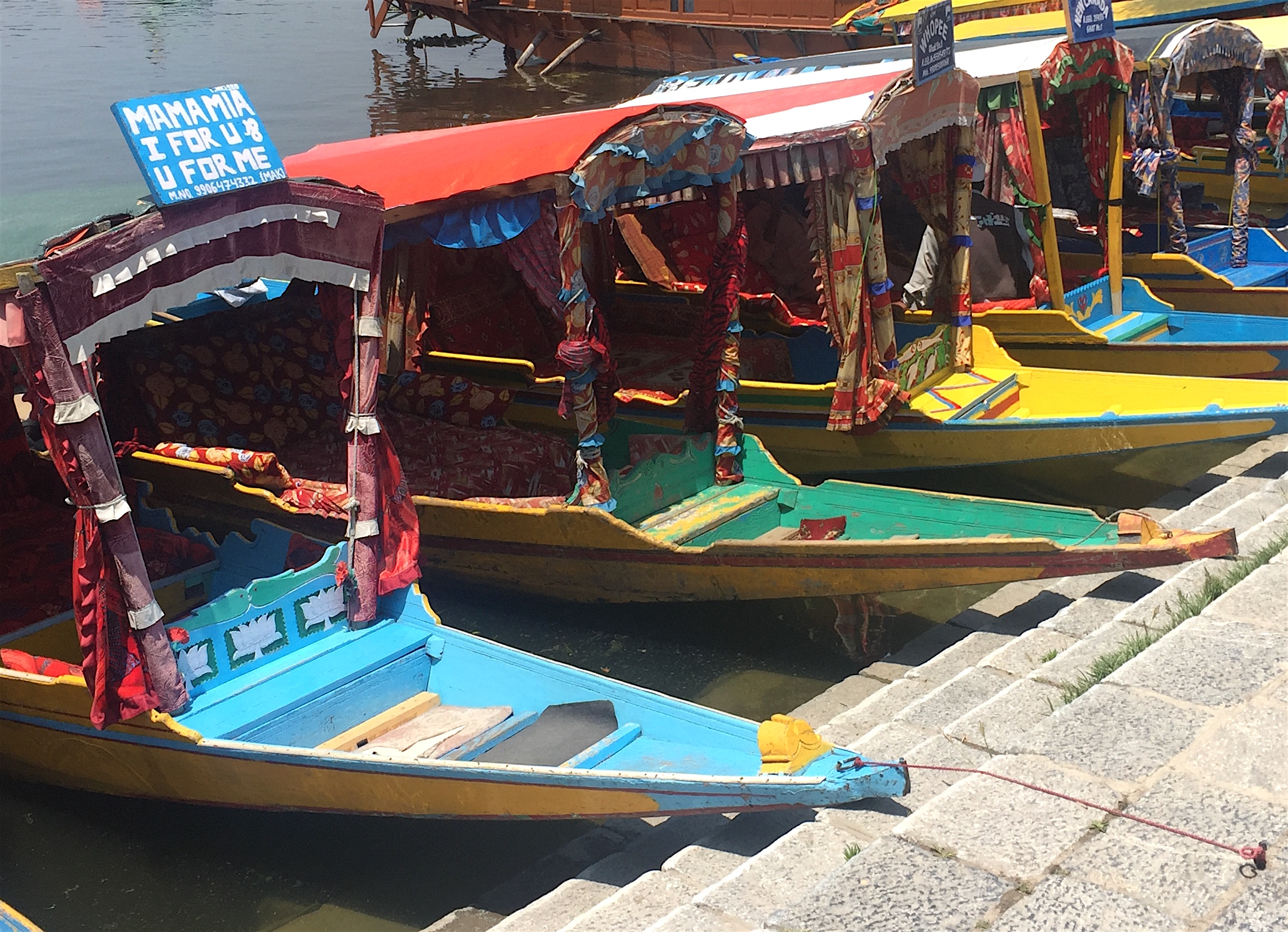 Shikaras docked at Nagin Lake