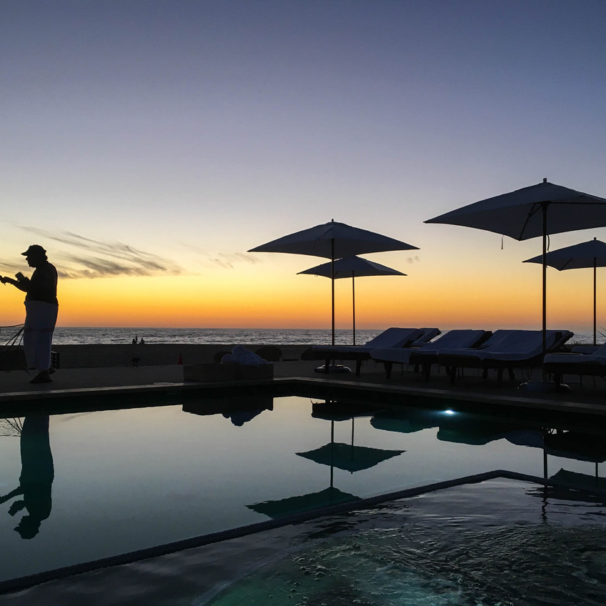 Sunset Silhouettes at the Pool