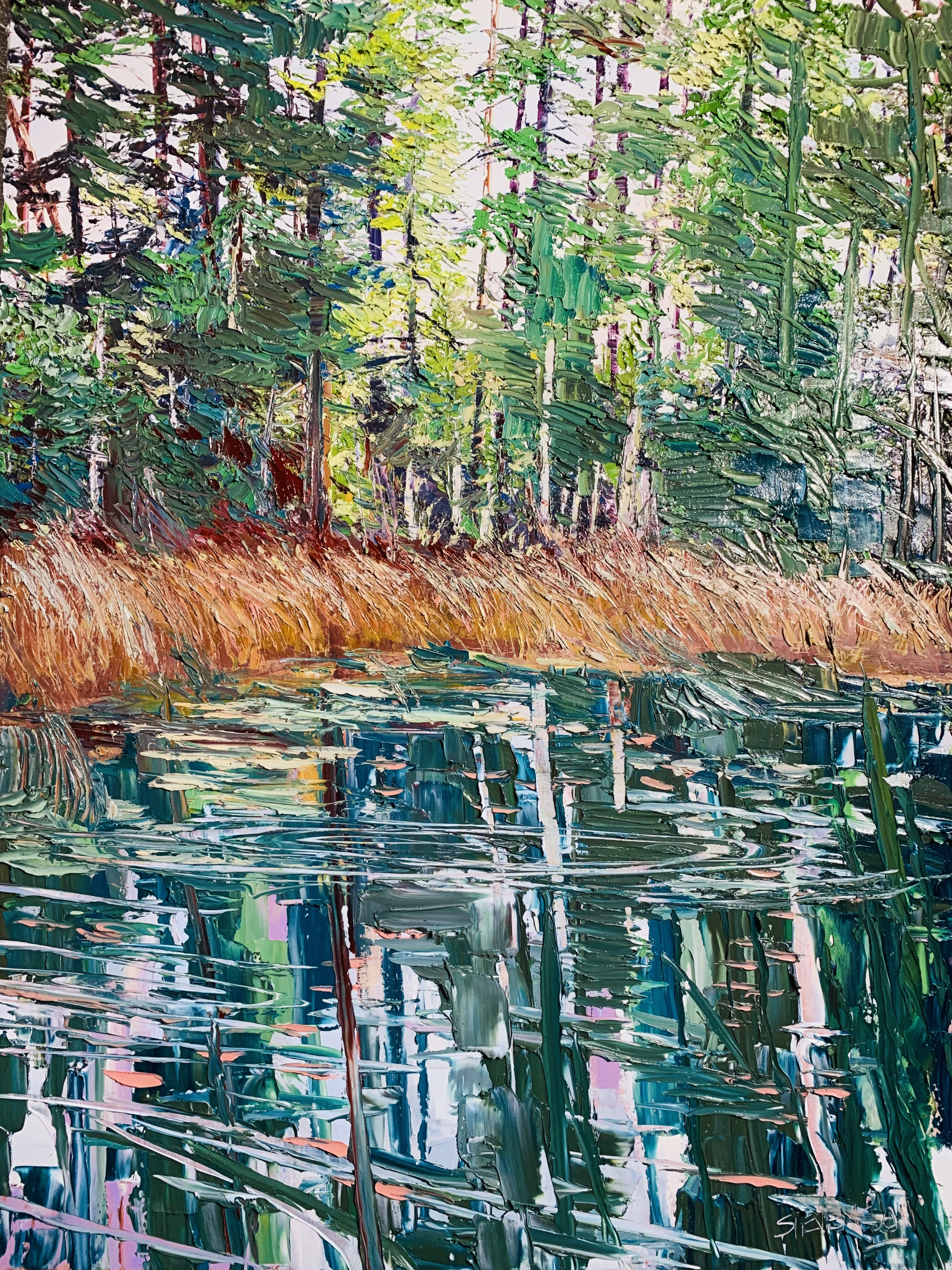 Reflextions on Chemainus Lake 36_ x 48_