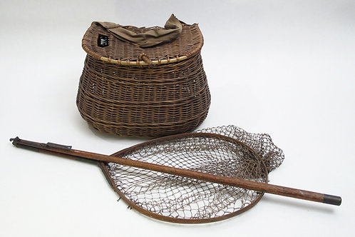 Handwoven wicker fishing creel