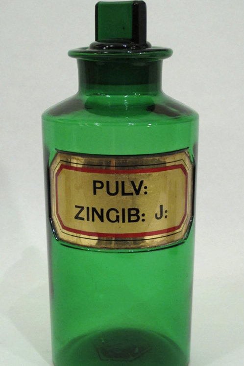 Large green glass apothecary bottle