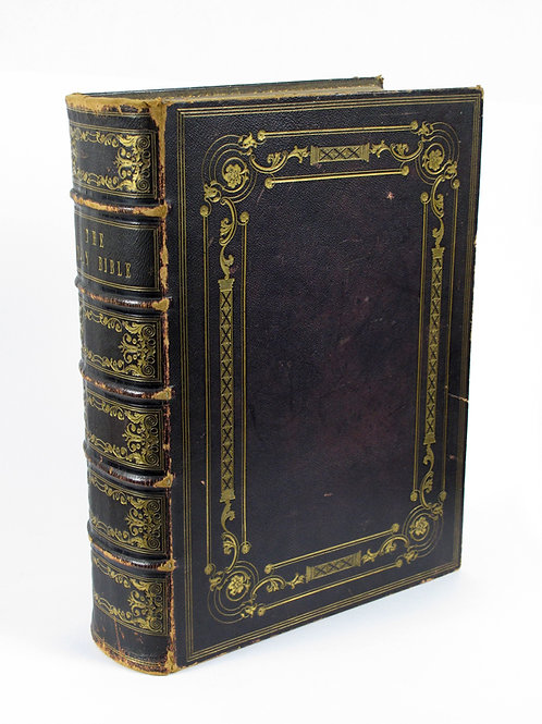 Mid 19th Century large leather bound family bible