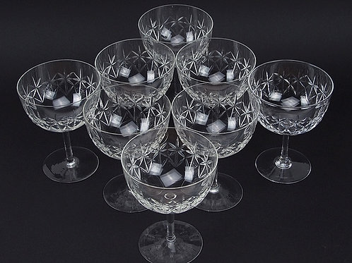 1920s Suite of eight cut glass/crystal champagne saucers