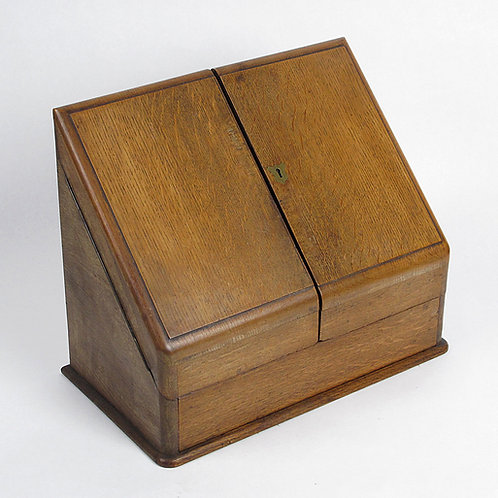 Oak slope front writing box