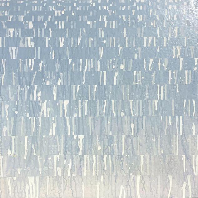 "A Pause I, 2018, acrylic on wood panel, 16""x16"""