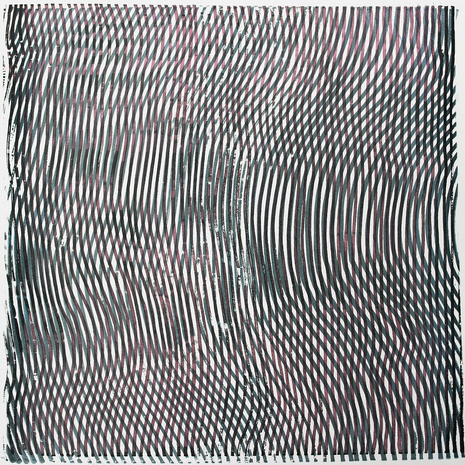 """untitled, 2016, screen printing on paper with ink and interference paint,12""""x12"""""""