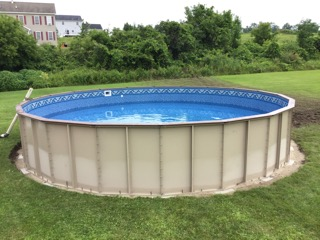 The 24' Round Fox Ultimate Pool Installed completely above ground.