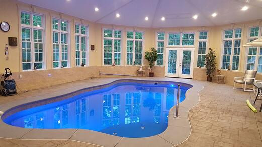 The O Series Fiberglass Indoor Pool from River Pools