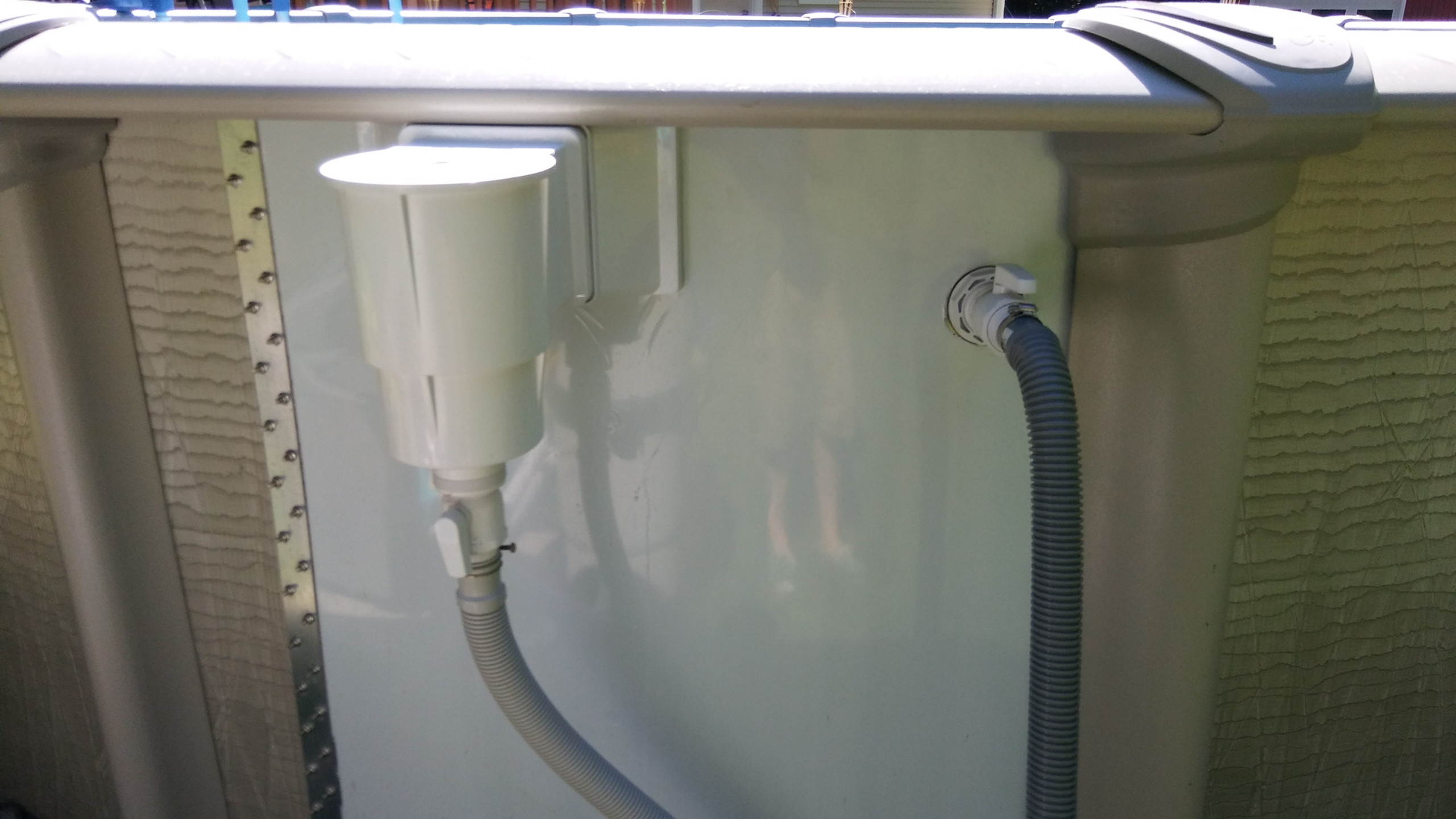 Once the pool is filled to the appropriate level we then install the skimmer, return and the pump and filter system. We also install ball valves on the skimmer and return to increase the ease of servicing and maintaining your pool.