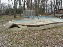 This is a concrete pool that was floated due to hydrostatic ground pressure