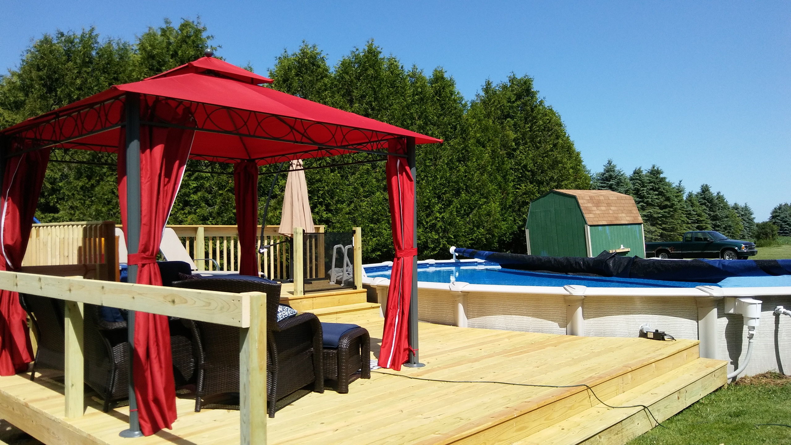 Another 30' Round Evolution Above Ground Pool by Pool Pros in Sturgeon Bay WI.