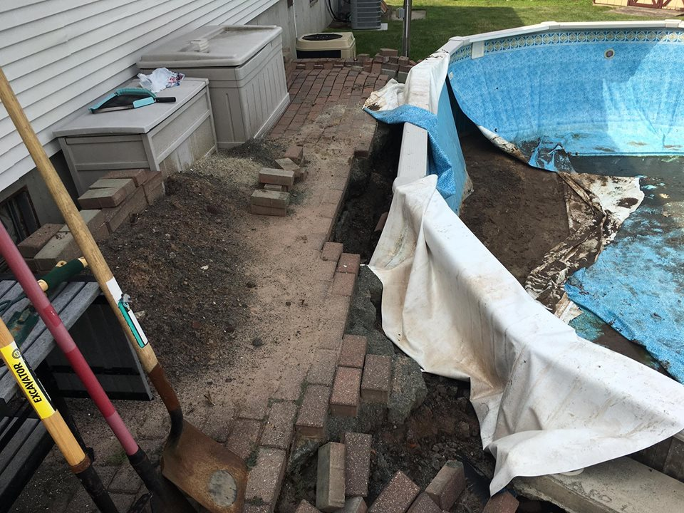 Another buried above ground pool that collapsed when the water was removed.