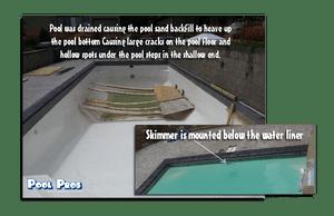 Severely damaged fiberglass pool in Algoma, WI