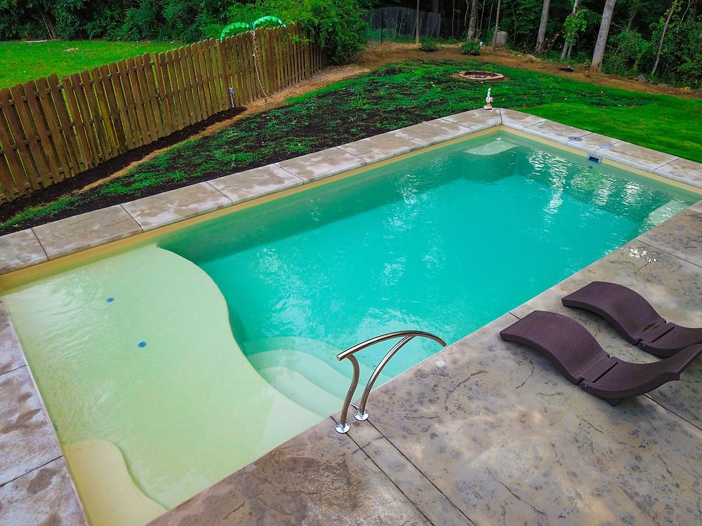 River Pools D36 Fiberglass Pool in Sandstone Color Finish
