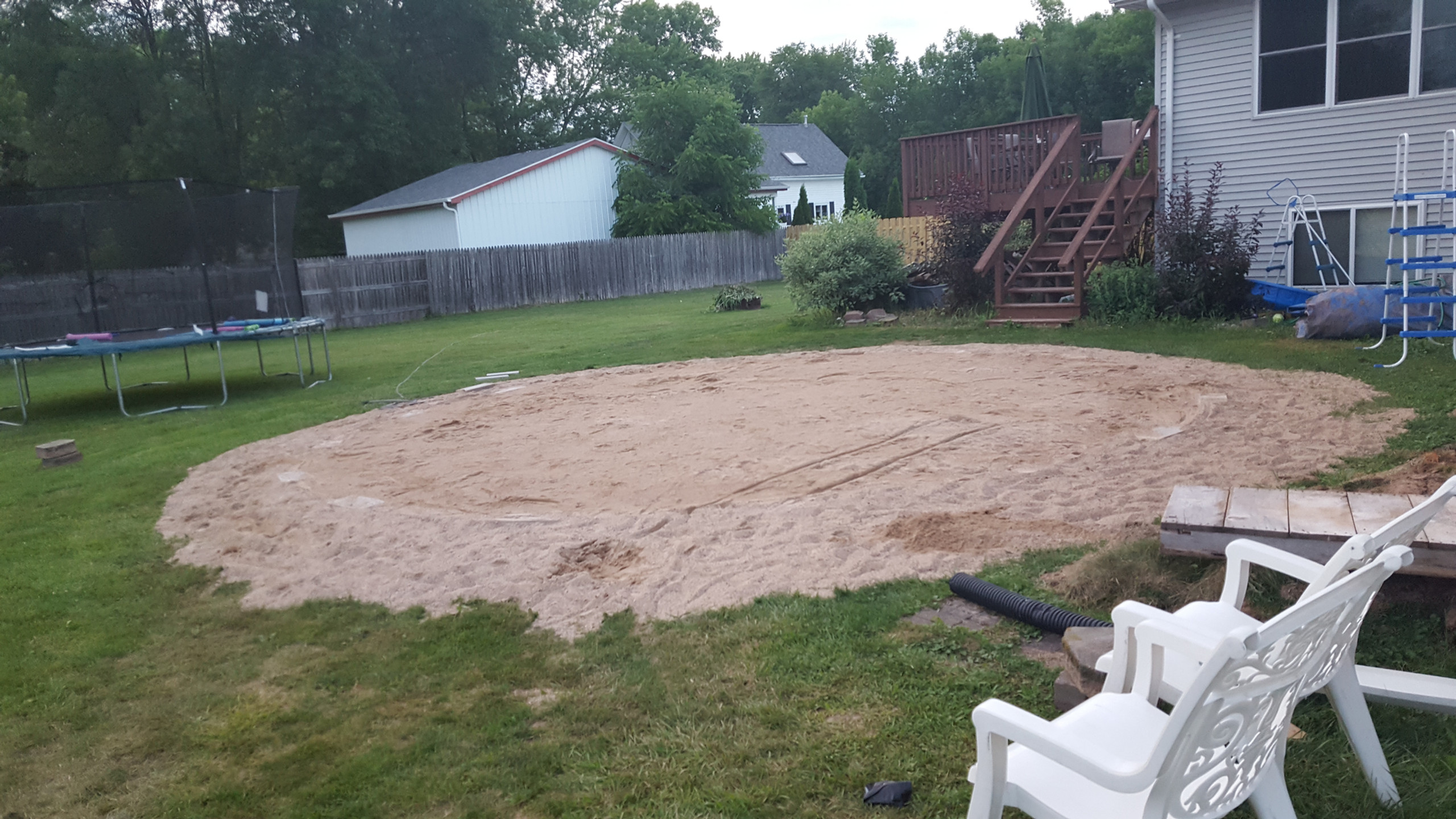 This photo shows how certain builders use sand and patio blocks to install their pools. This process leads to the damage seen in the other photos in this gallery