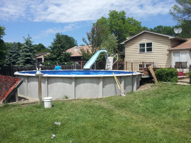This 24' Round Above Ground Pool by Pool Pros was built in Ahswaubenon WI.