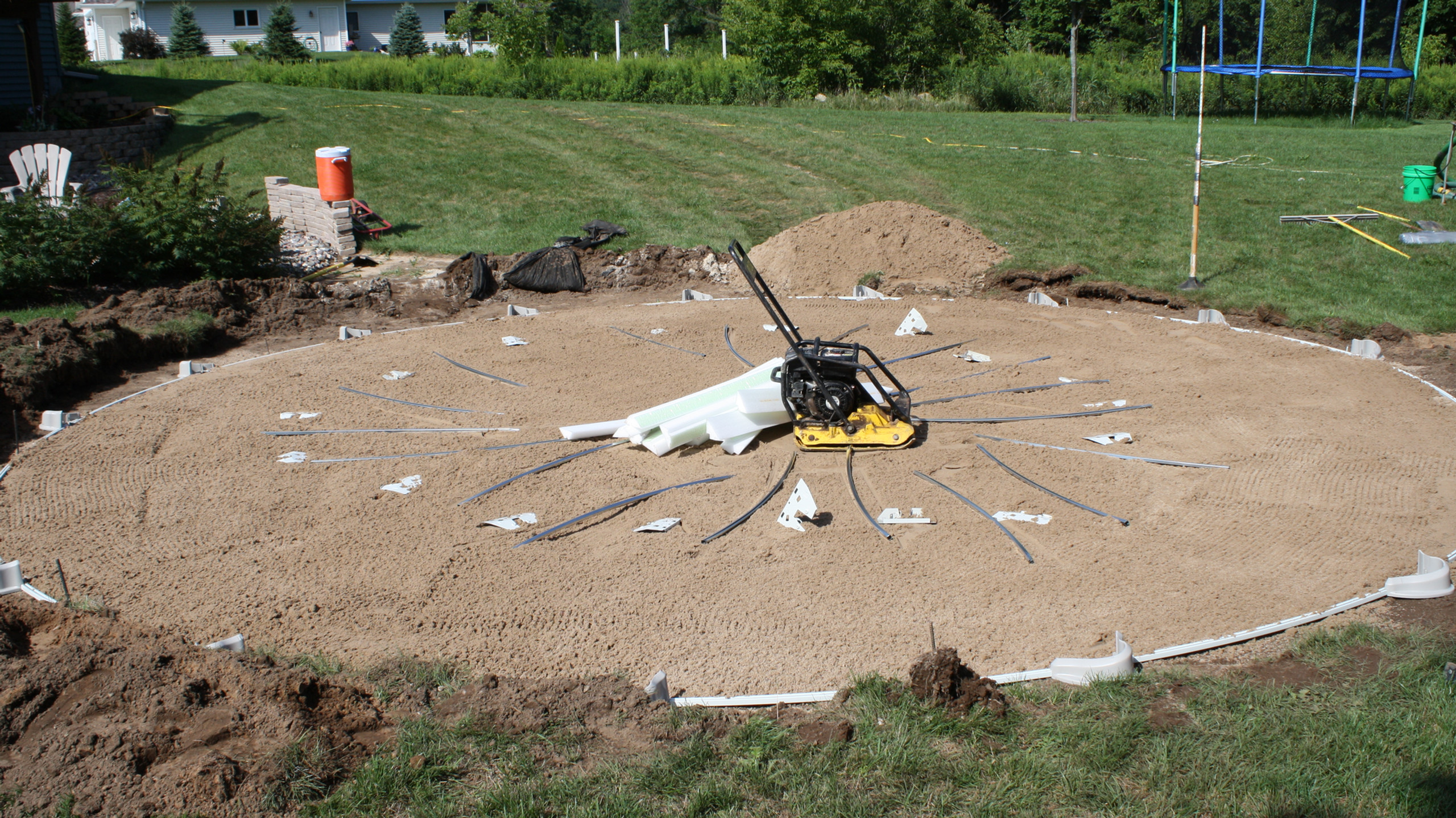 Now we strategically place all of the pool components to aid in efficient installation of your above ground pool.