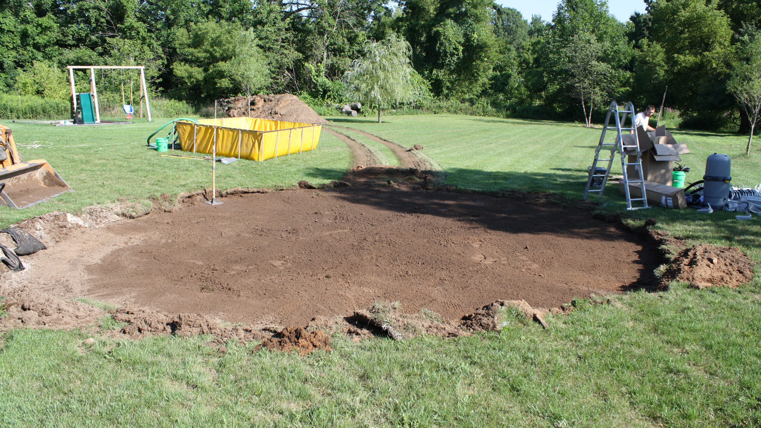 """This is the completed excavation that is graded to within 1/8""""."""