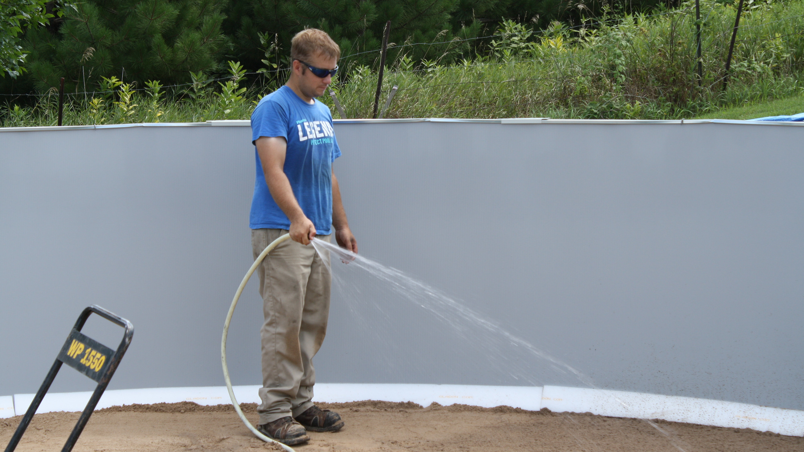 In this step we get the mason sand just damp enough that it compact nice and firmly.