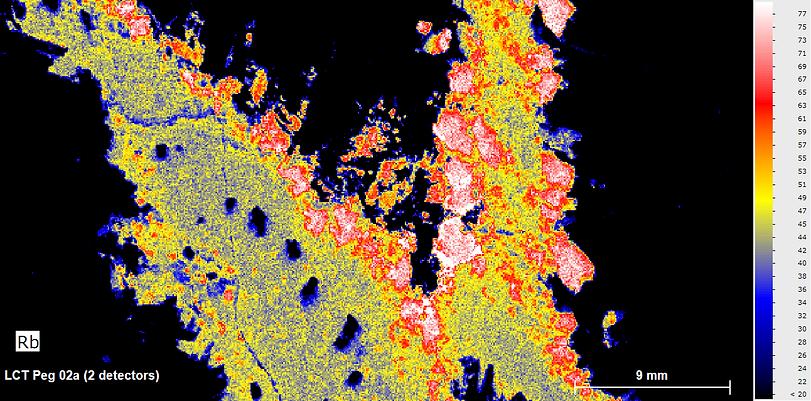LCT Pegmatite_Rb heat map micro xrf