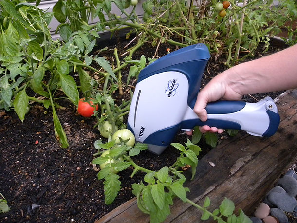 Bruker Titan XRF undertaking soil analysis in a vegetable patch