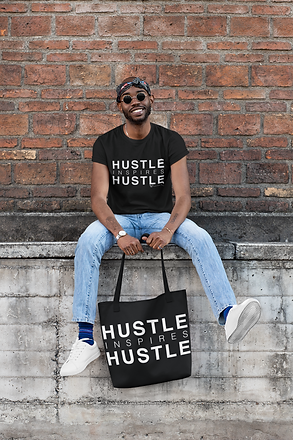 Mockup hustle inspires hustle shirt tote