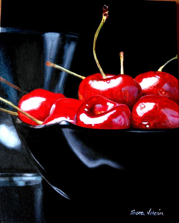 Al óleo_ Cerezas! No sabes...no sabes cuán espectacular es el rojo...no lo sabes hasta que lo contra