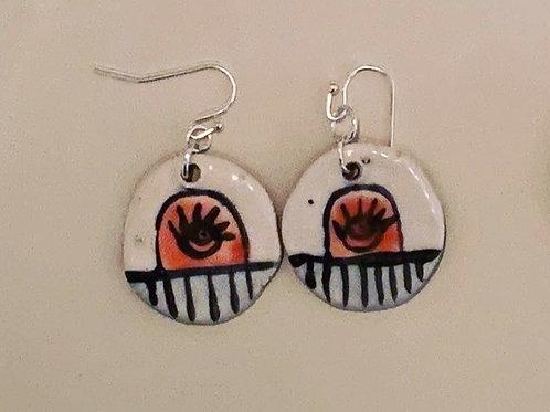 Peach Eye Earrings