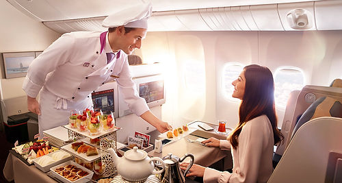 Court discerning tourist with business class promotions & gastronomical spread