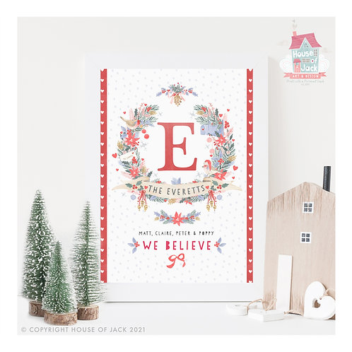Christmas Family Crest - Personalised Art Print