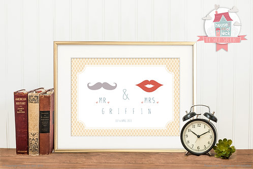 Mr. & Mrs. Personalised Art Print
