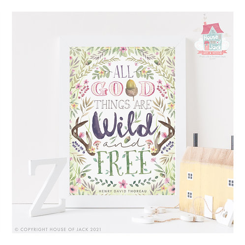 Good Things Woodland Quote Art Print