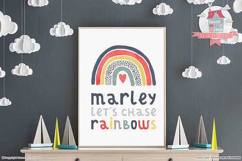 Chase Rainbows Personalised Art Print