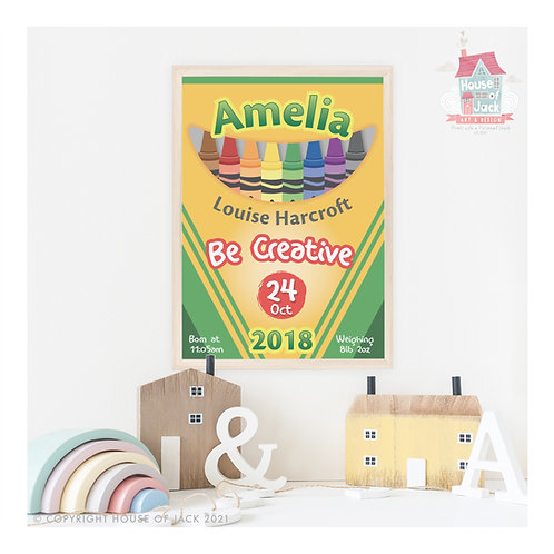 Crayons Personalised Art Print