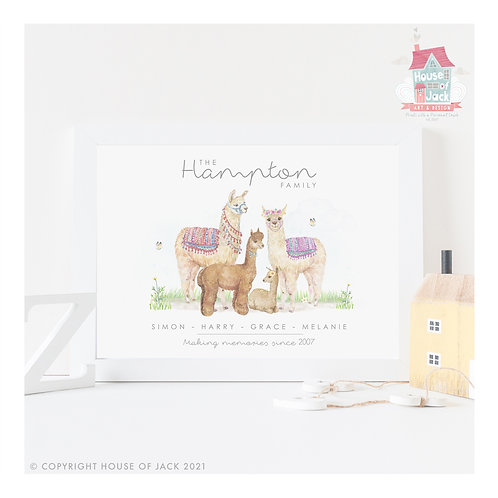 Llama Animal Family Portrait Personalised Art Print