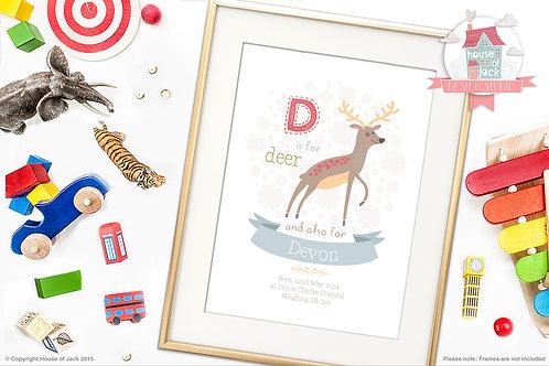 "Animal Alphabet ""D"" Personalised Art Print"