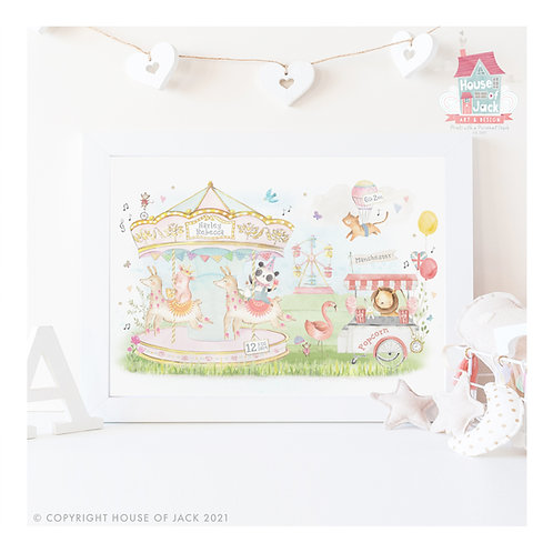 "Animal Birth Details ""Carousel Ride"" Personalised Art Print"