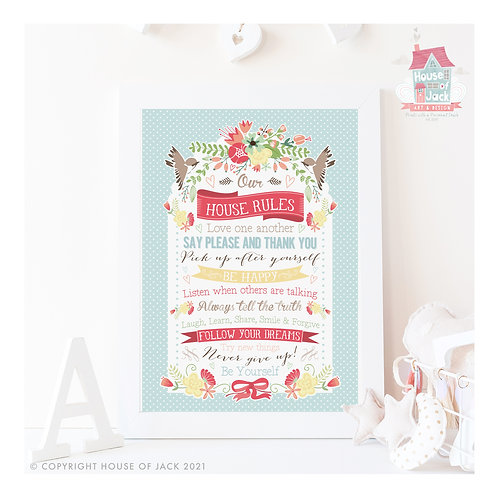 Birds House Rules Personalised Art Print