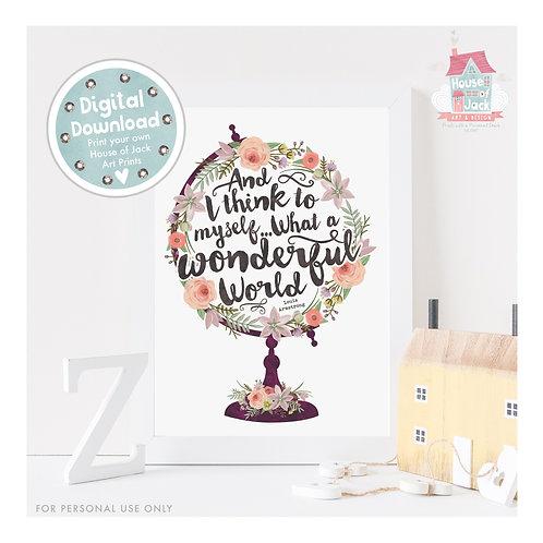Floral Globe - Wonderful World Digital Art Print