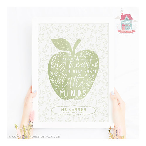 Little Minds Apple Personalised Art Print